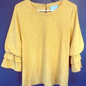 Skies Are Blue yellow bell sleeve blouse